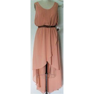 FOREVER 21 AMBER FAUX WRAP HIGH LOW DRESS L